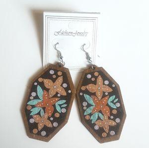 Fashion Jewelry Big Wooden Earrings